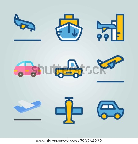 Icon set about Transport. with departure plane, mini car and departure-arrival