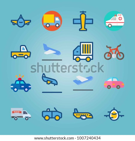 Icon set about Transport. with departure plane, plane and pink car