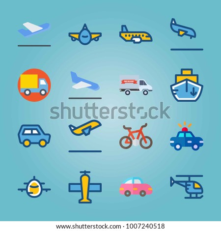 Icon set about Transport. with front side, delivery truck and departure