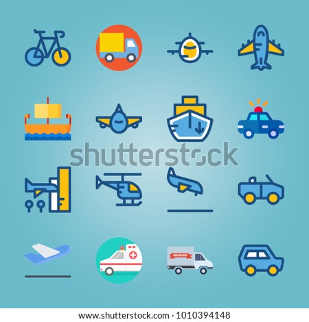 icon set about Transport with helicopter, departure-arrival, aeroplane, ship and ancient ship