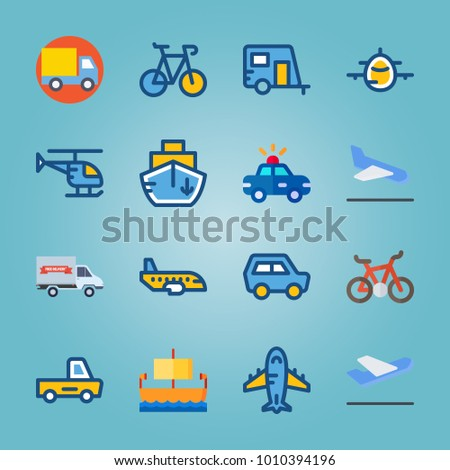 icon set about Transport with mini car, departure plane, departure-arrival, plane and backside