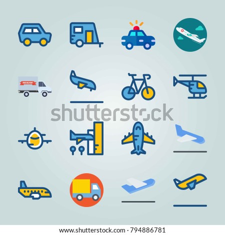 Icon set about Transport. with truck, departure and departure plane