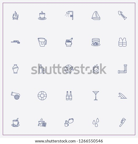 icon set about water with keywords tea pot, bath douche and sauna