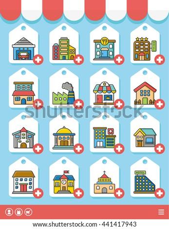 icon set building vector