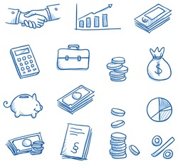 Icon set business & finance with money, graphs, calculator, shaking hands, hand drawn vector doodle