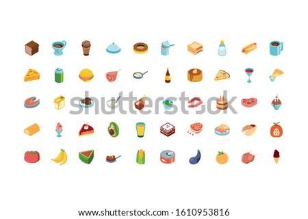 icon set design  eat food
