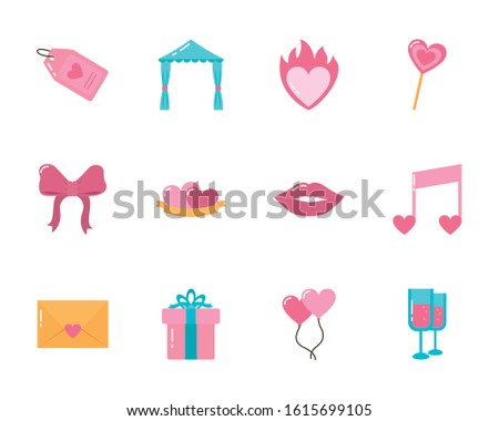 icon set design of love
