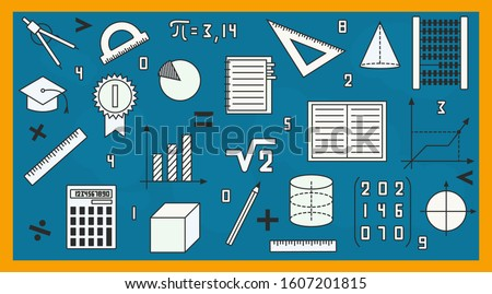 Icon set. Education, math. Vector illustration with math objects on a blue school blackboard.