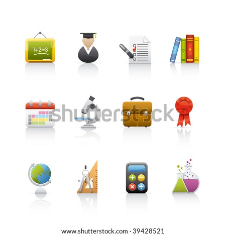 Icon Set - Education. Set of icons on white background in Adobe Illustrator EPS 8 format for multiple applications.