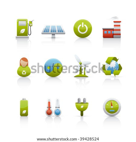 Icon Set - Environmental Conservation. Set of icons on white background in Adobe Illustrator EPS 8 format for multiple applications.