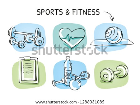 Icon set fitness, with weights, measuring tape, water, apple, checklist, gymnastic ball, heart. Hand drawn cartoon sketch vector illustration, whiteboard marker style coloring.