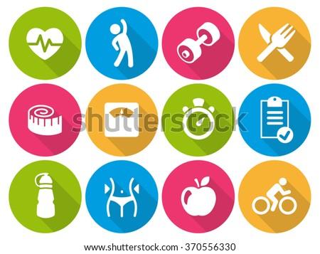 Icon set flat - Fitness 01