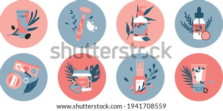 Icon Set for beauty salon, spa. Cosmetics, bottle, jar tube, foam, mask, oil, cream. Aloe vera, leaves, skincare products isolated. Natural organic eco products. Skin care routine beauty objects.  Foto stock ©