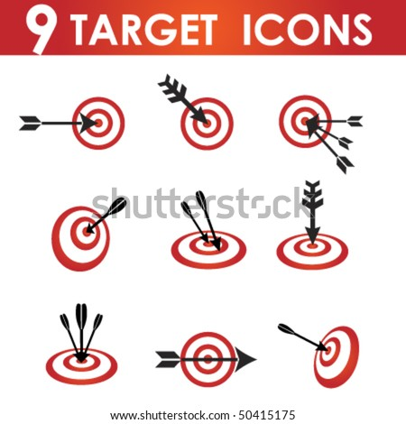 Icon set for red and White target with black arrow