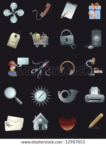 icon set for web & print - stock vector