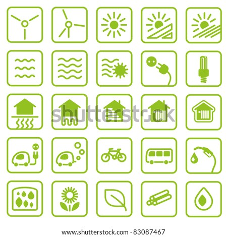 Icon set green Energy