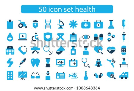 icon set health hospital
