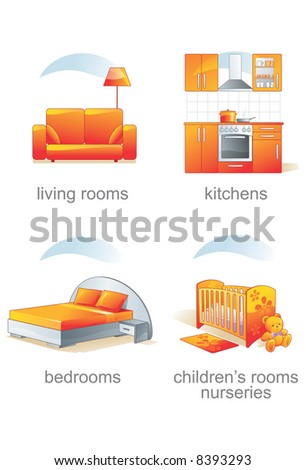 Icon set - home, furniture, living rooms, kitchens, bedrooms, children's rooms, nursery. Aqua style. Vector illustration