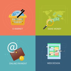 Icon set in flat design of web design, commerce, mobile payment and e-market concepts