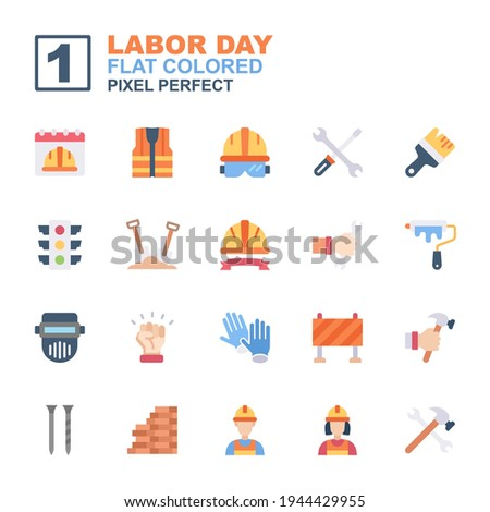 icon set labor day made with