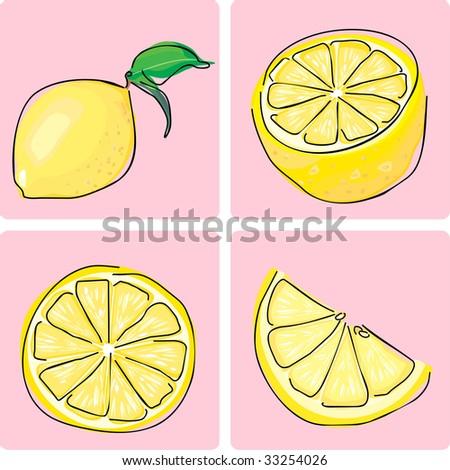 icon set - lemon fruit