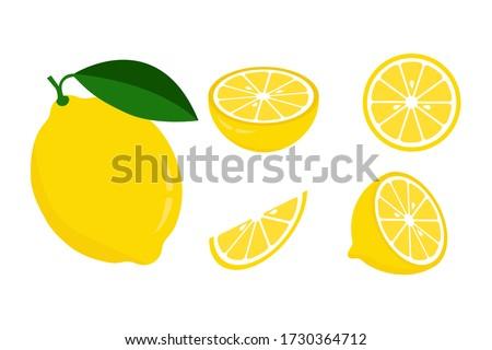 Icon set lemon, vector illustration on white background