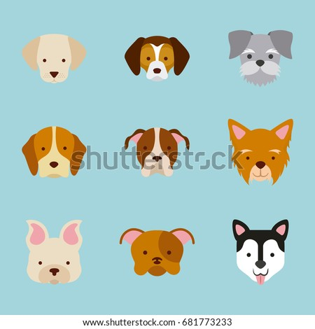 icon set love dogs