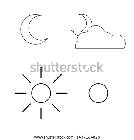 icon set moon and sun vector, outline design.