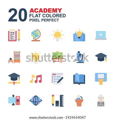 Icon Set of Academy. Flat color icons vector. Contains such of geography, hat graduation, music, exam, idea, knowledge, microscope, biology, professor, and more. You can use for web, app and more.
