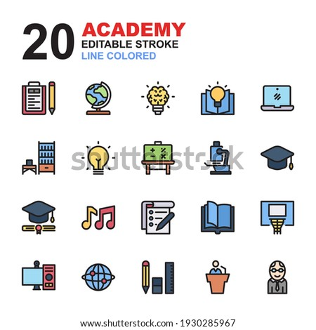 Icon Set of Academy. Line color icons vector. Contains such of geography, hat graduation, music, exam, idea, knowledge, microscope, biology, professor, and more. You can use for web, app and more.