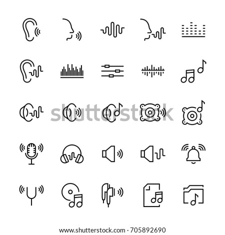 Icon set of acoustics and sound in line style. Vector symbols.