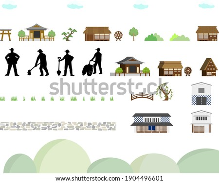 icon set of ancient buildings