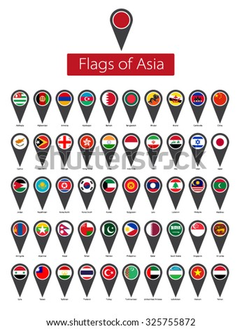 icon set of asian flags