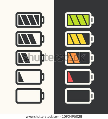 Icon set of batteries with different degree of energy charge. Battery black color; white battery with color scale charge power.