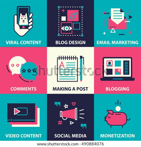 icon set of blogging and social