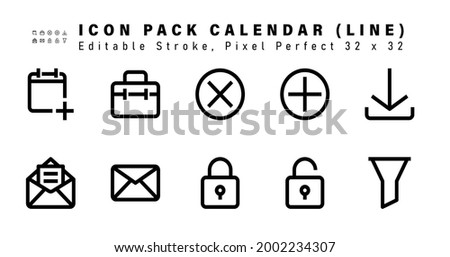 Icon Set of Calendar Line Icons. Contains such Icons as Download, Letter, Mail, Lock etc. Editable Stroke. 32 x 32 Pixel Perfect Foto stock ©