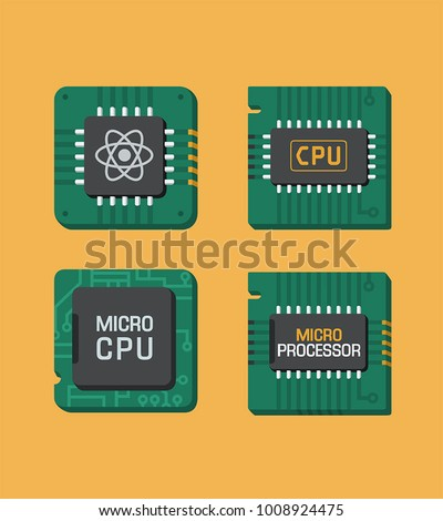 Icon set of chips. A processor on a computer board with micro processor inscriptions, CPU and a quantum chip sign.