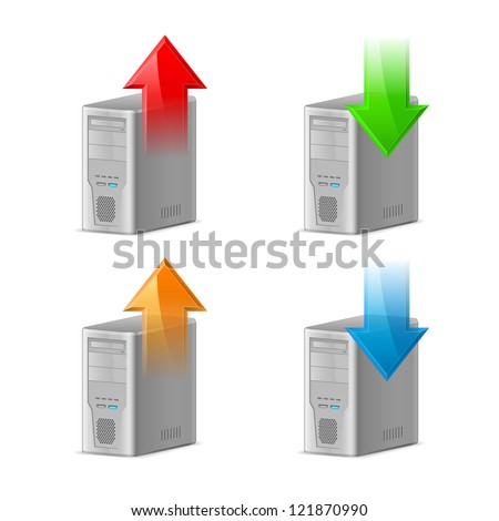 Icon Set of Computer with Upload and Download Arrows