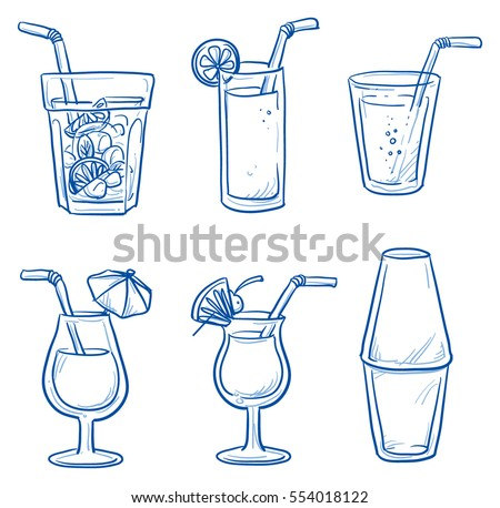 Icon set of different cocktails, long drinks and other refreshments in glasses you get at a bar, and a shaker. Hand drawn doodle vector illustration.