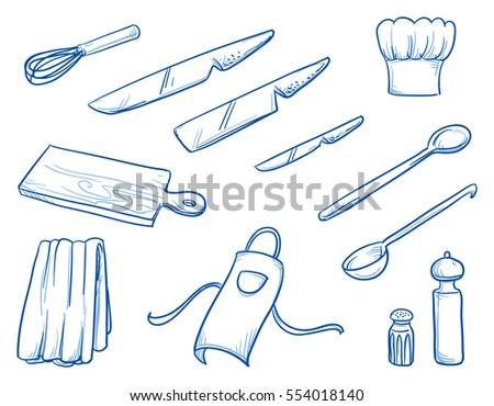 Icon set of different cooking or kitchen supplies as some knifes, spoons and chef's hat and skirting. Hand drawn doodle vector illustration.