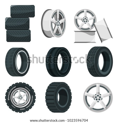 Icon set of different disks for wheels and tires. Vector pictures set in cartoon style. Illustration of car disk and tire, wheel rim for automobile