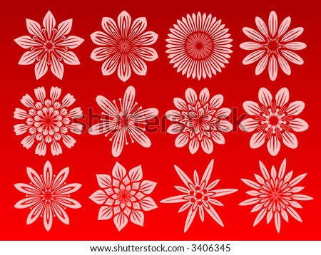 icon set of 12 different flowers