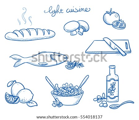 icon set of different food and