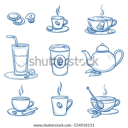 icon set of different tea and