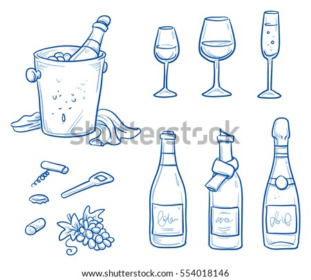 Champagne Bottle Line Drawing Download Free Vector Art Stock