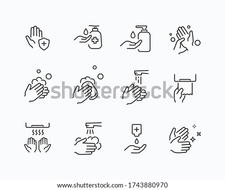 Icon set of disease prevention protect. Vector sanitizer, antiseptic, antibacterial symbols. Healthcare wash hands process with rinse water, tap, soap, towel and safety icons.