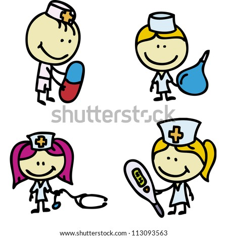 Icon set of doodle happy children with medical tools plays hospital