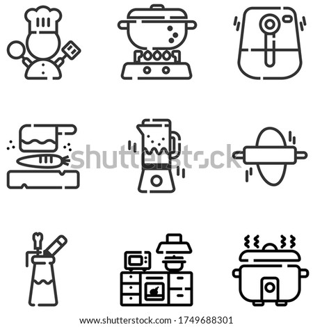 Icon set of electric kitchen equipments and chef symbol, spinner, air fryer, bread maker, cutting plate and knife, espuma