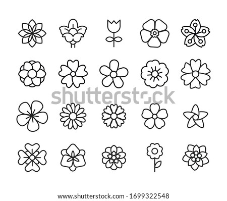 Icon set of flower. Editable vector pictograms isolated on a white background. Trendy outline symbols for mobile apps and website design. Premium pack of icons in trendy line style.