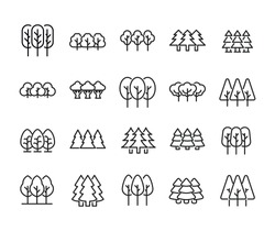 Icon set of forest. Editable vector pictograms isolated on a white background. Trendy outline symbols for mobile apps and website design. Premium pack of icons in trendy line style.